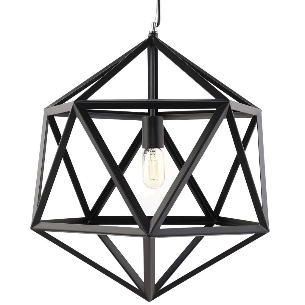 Hexagon Cage Black Metal Chandelier