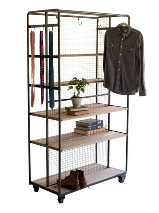 Wood Metal Rolling Storage Rack