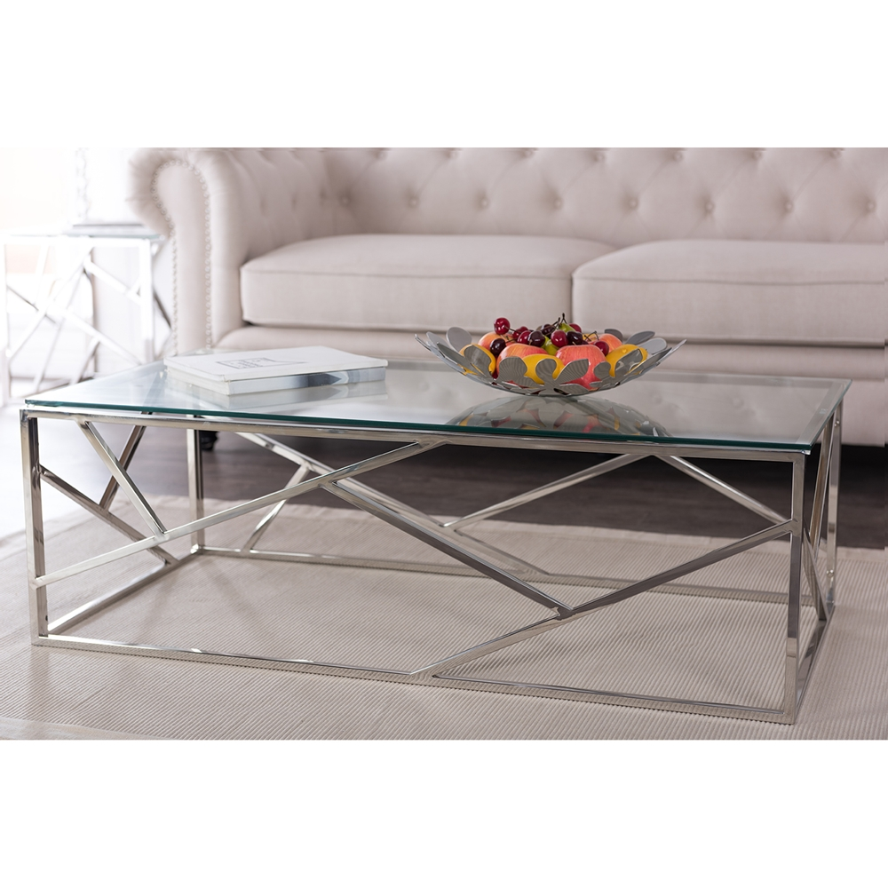 Aero Chrome Glass Coffee Table