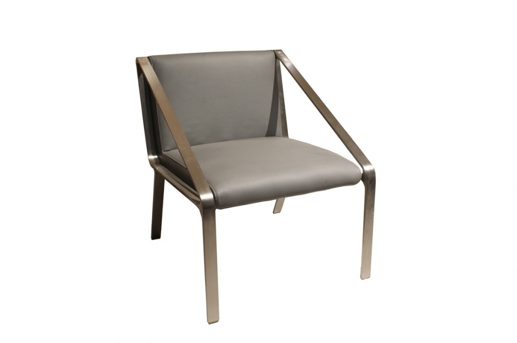 Arton Gray Leather Accent Chair