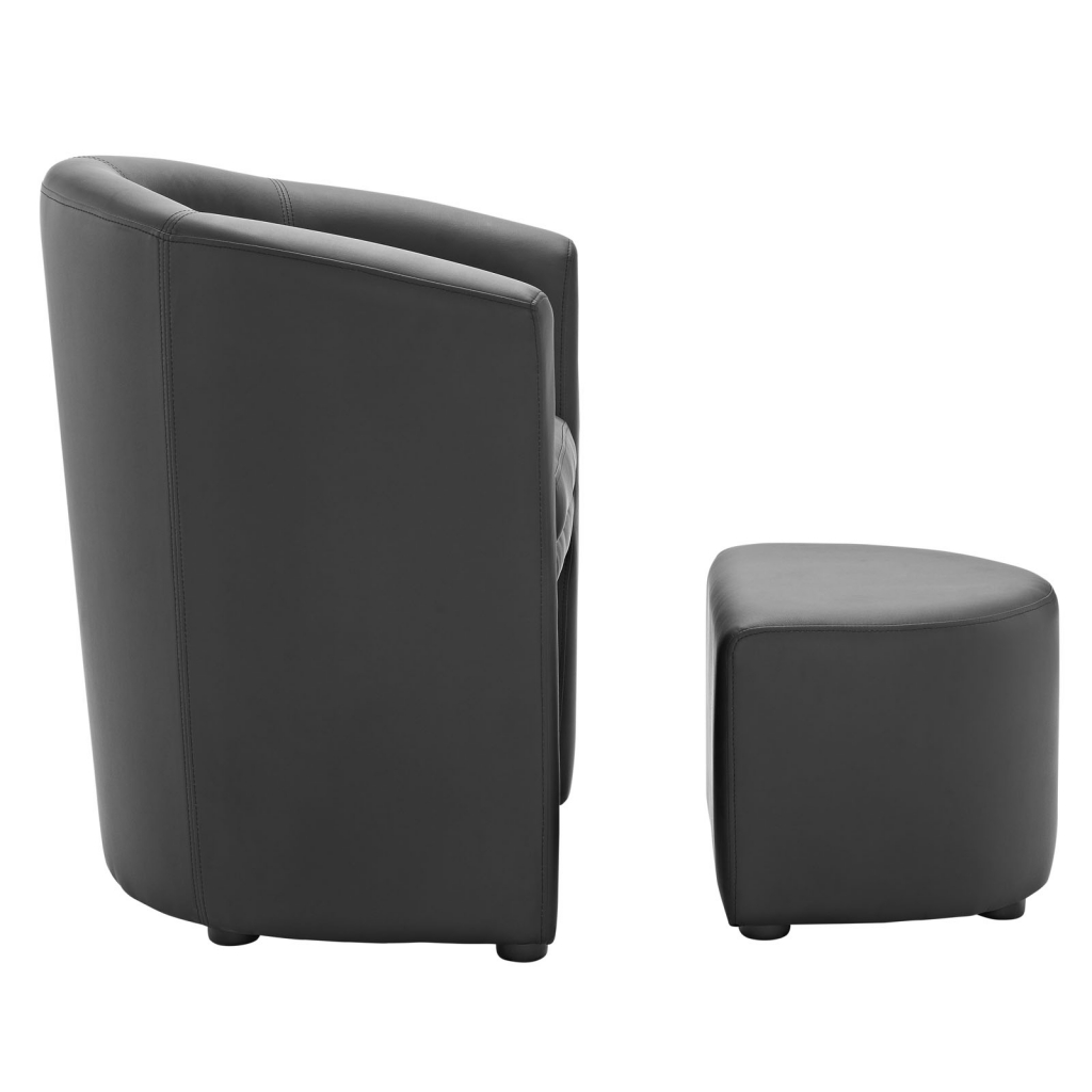Black Sequence Chair and Ottoman Set 3