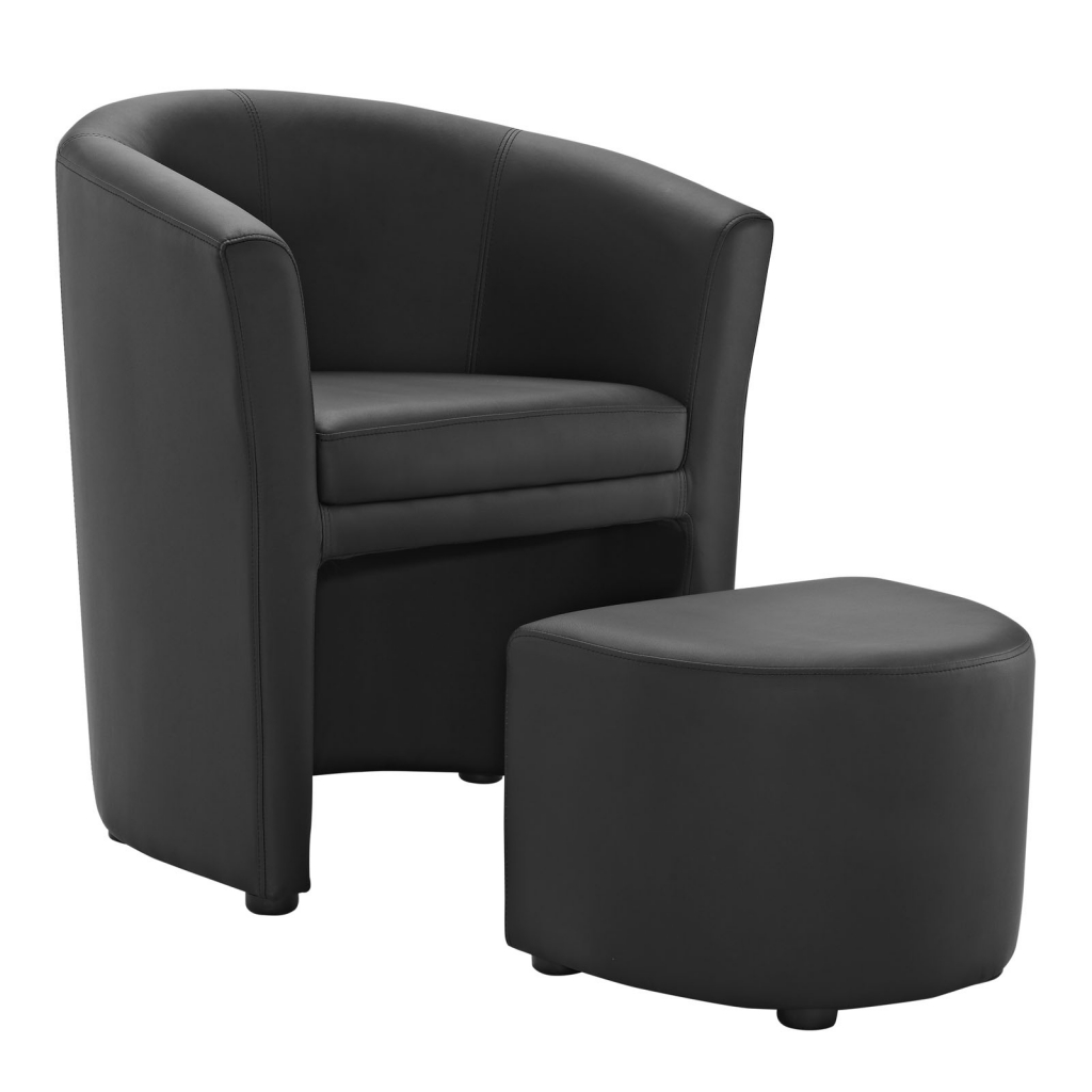 Black Sequence Chair and Ottoman Set