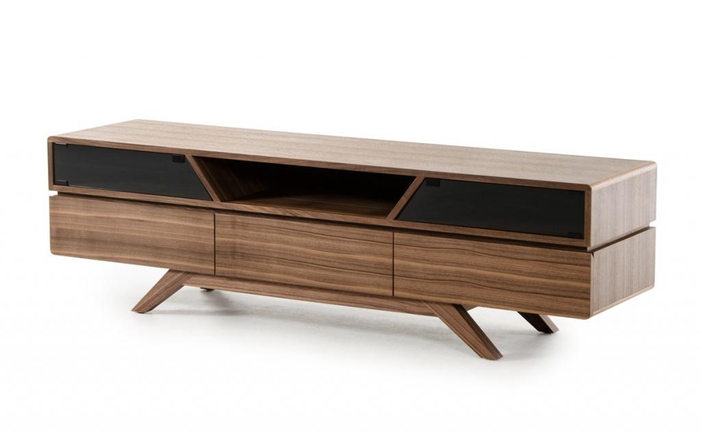 mid century modern walnut wood tv media stand modern furniture brickell collection. Black Bedroom Furniture Sets. Home Design Ideas