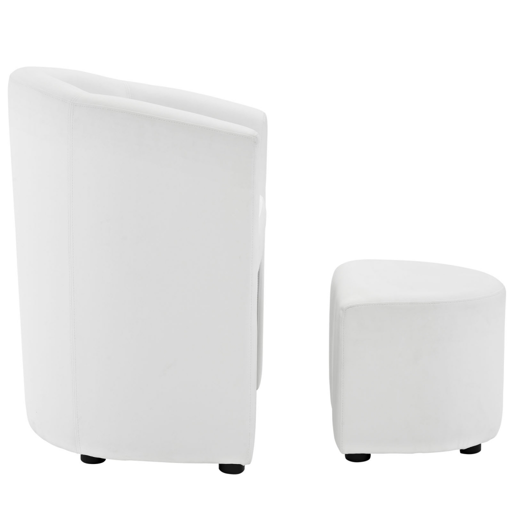 White Sequence Chair and Ottoman Set 3