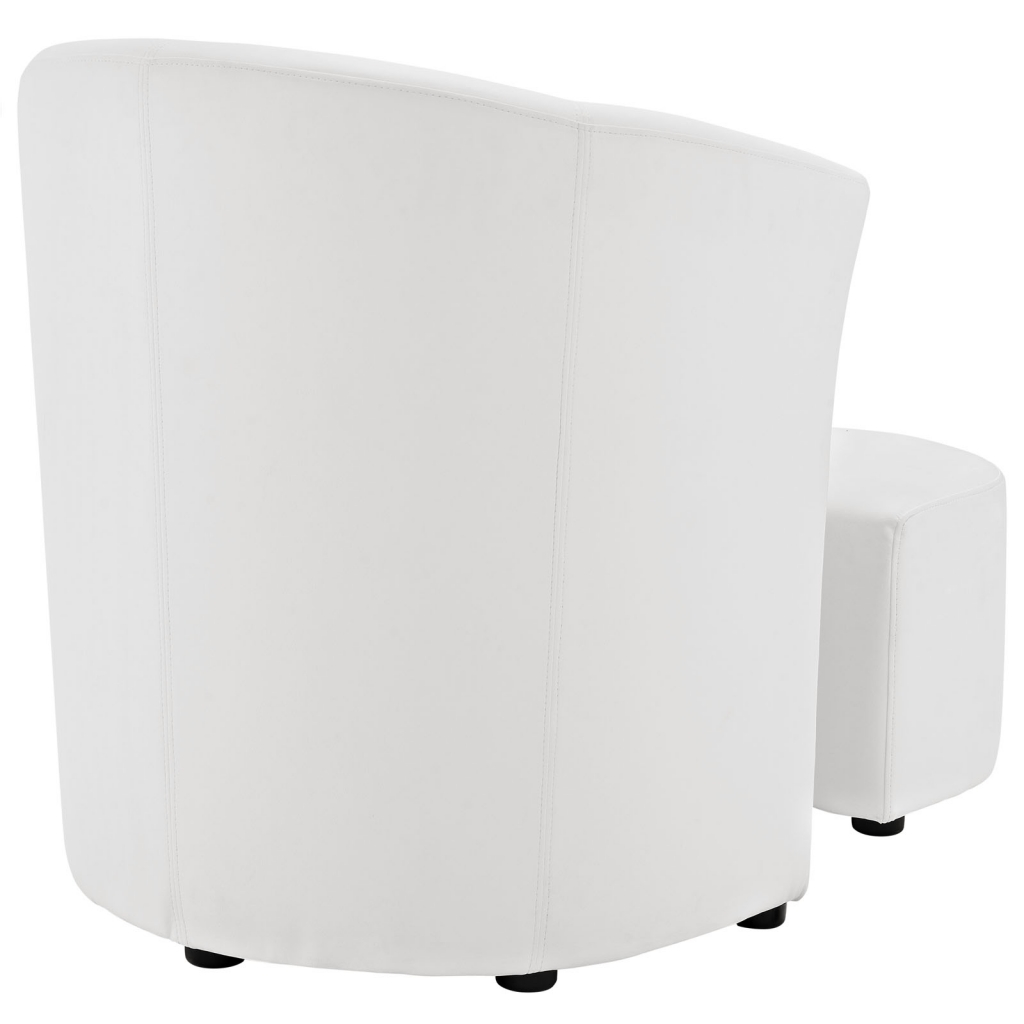 White Sequence Chair and Ottoman Set 4