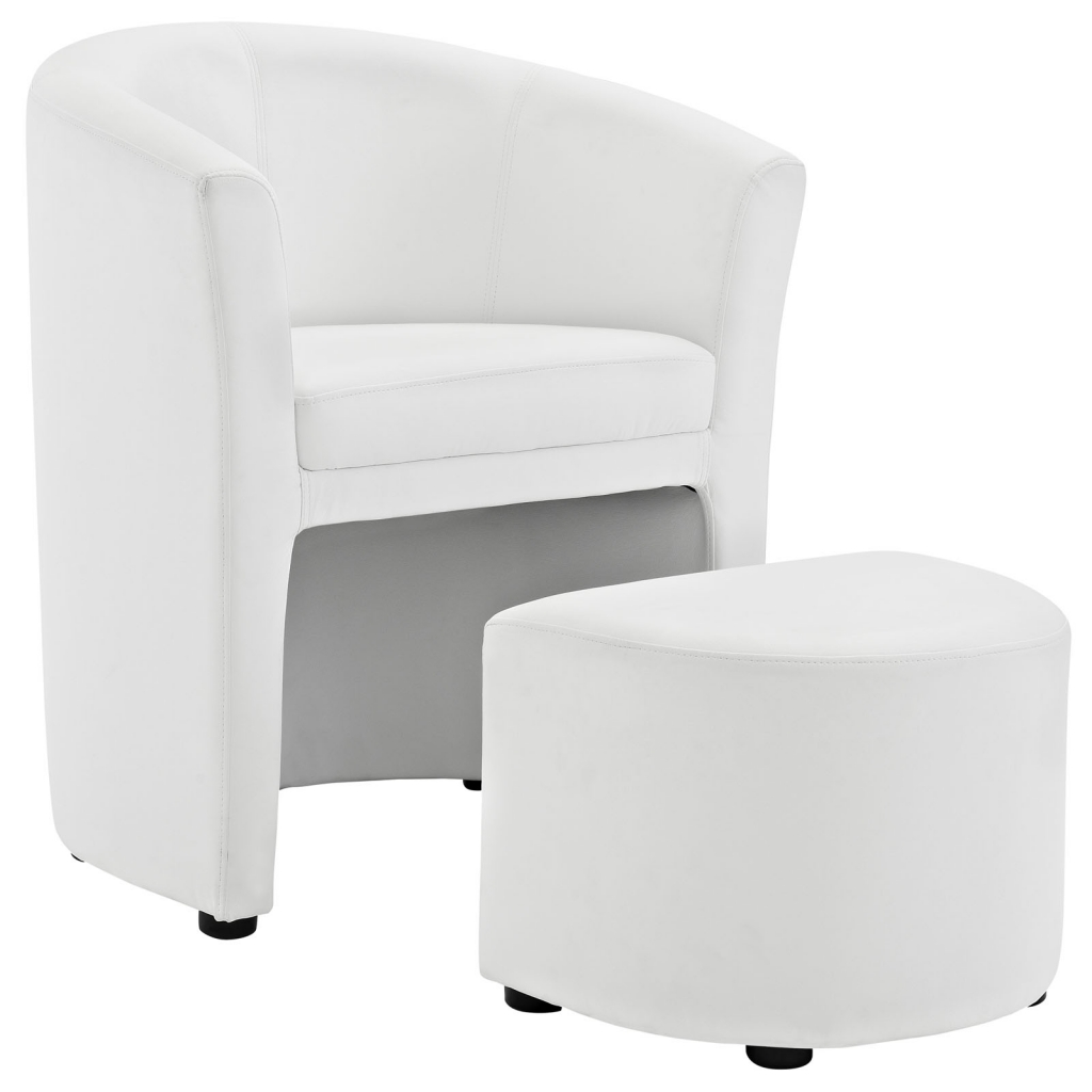 White Sequence Chair and Ottoman Set