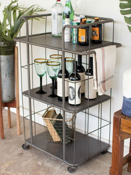Caged Metal 3 Tiered Tray Rolling Cart 461x614