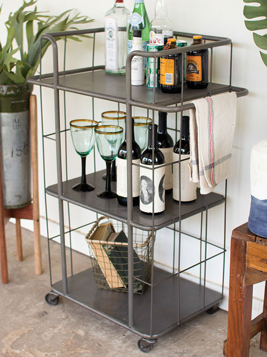 Caged Metal 3 Tiered Tray Rolling Cart