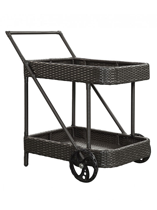 Outdoor Rattan Rolling Cart