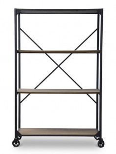 Wood Metal Rolling Shelving Unit  237x315