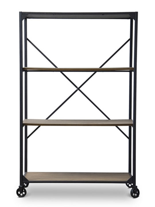 Wood Metal Rolling Shelving Unit