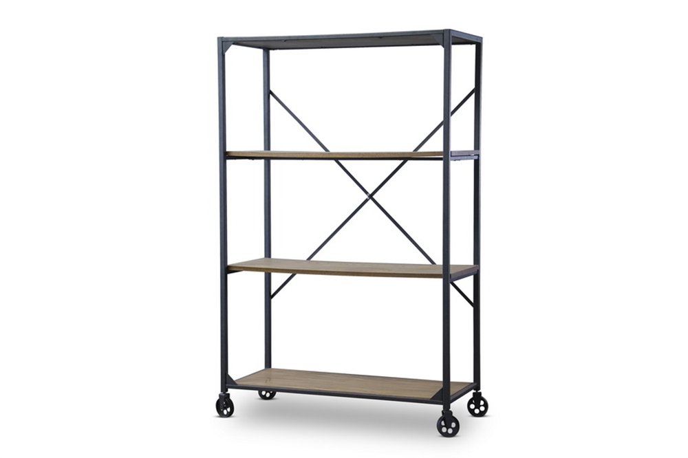 Wood Metal Rolling Shelving Unit 2