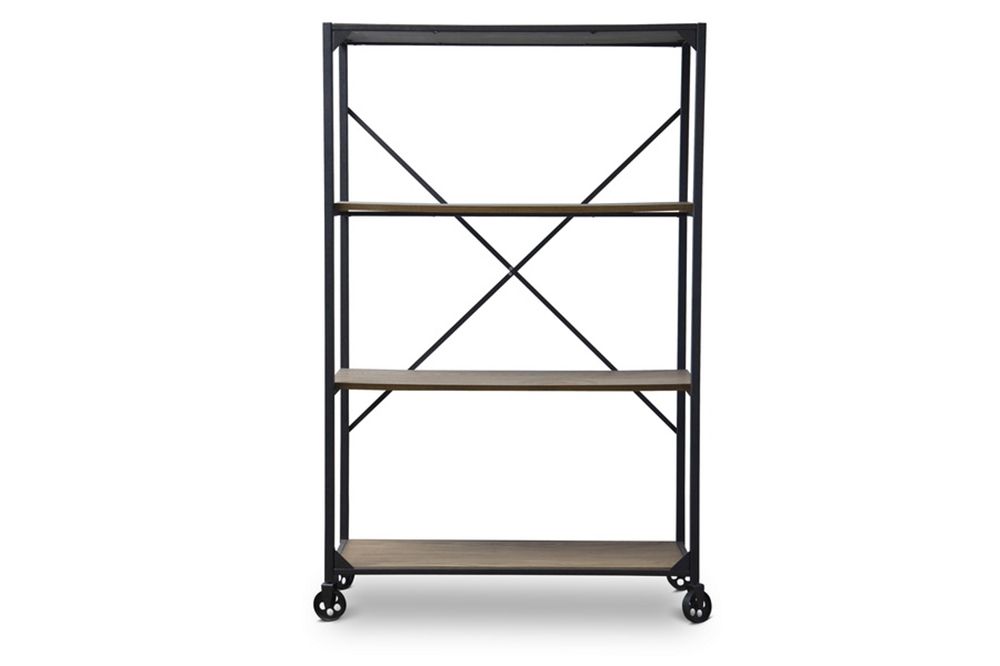 Wood Metal Rolling Shelving Unit 3