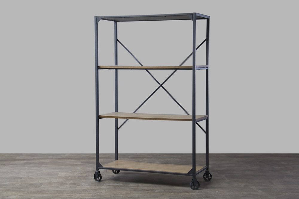 Wood Metal Rolling Shelving Unit 4