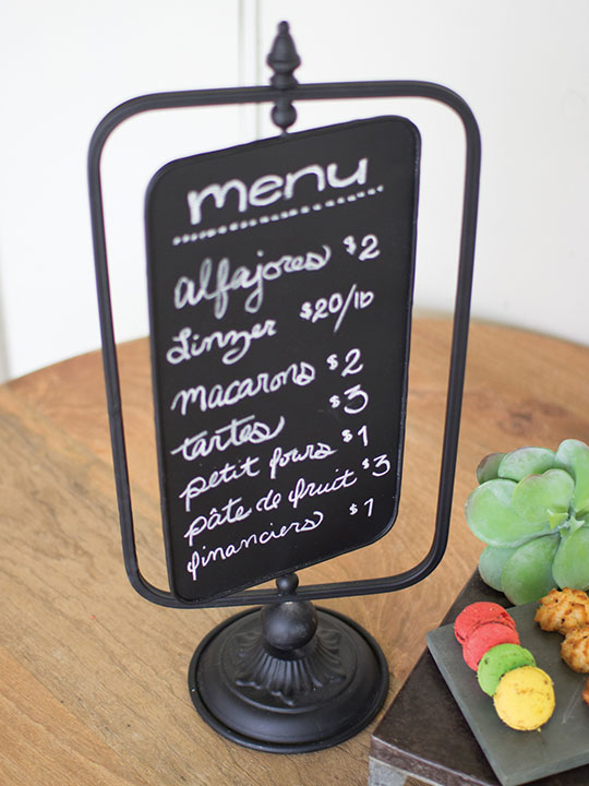 Chalkboard swivel table menu