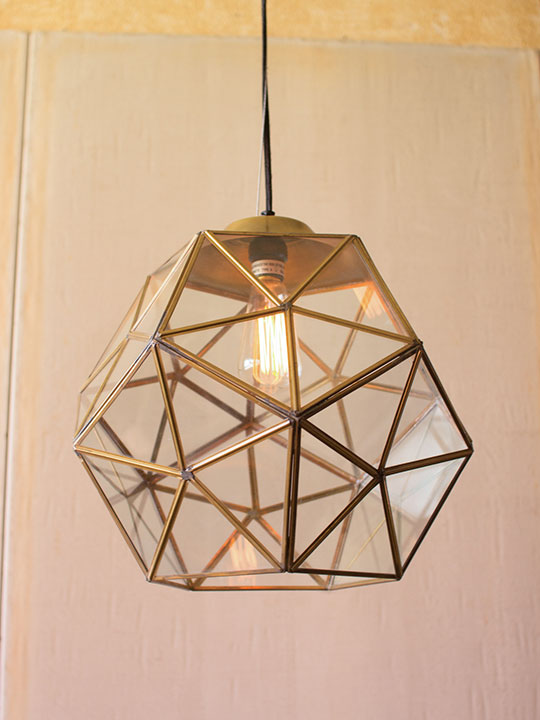 Gold Metal Glass Geometric Large Pendant Light