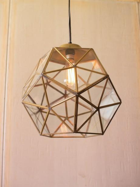 Gold Metal Glass Geometric Large Pendant Light 2 461x614