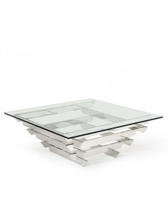 Hollywood Regency Chrome Glass Coffee Table 237x315