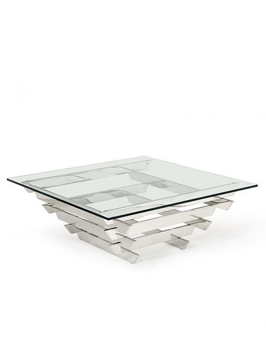 Hollywood Regency Chrome Glass Coffee Table