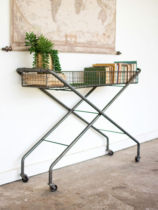 Metal Basket Rolling Cart