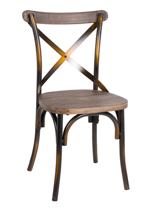 X Copper Wood Chair