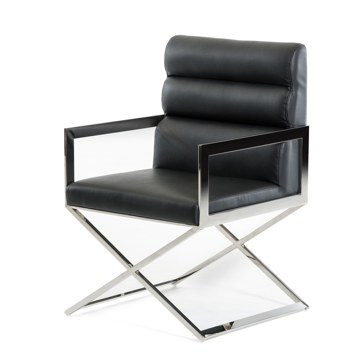 black leather chrome accent chair