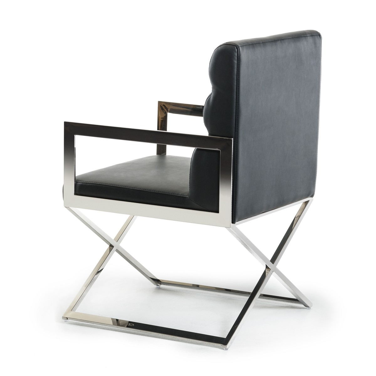 black leather chrome dining chair