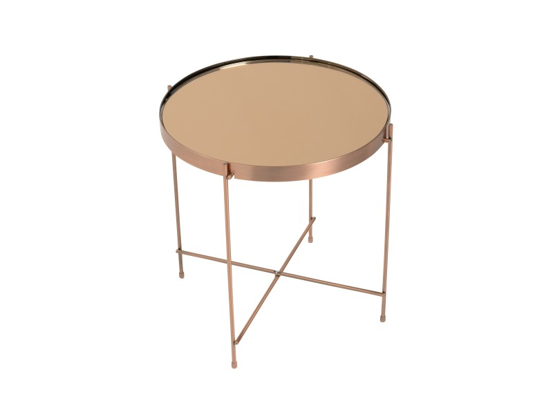 french copper metallic side table 3 4