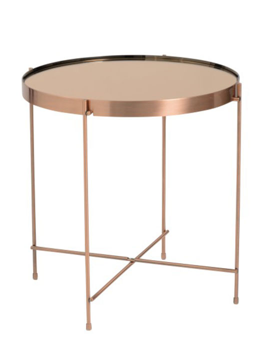 french copper metallic side table