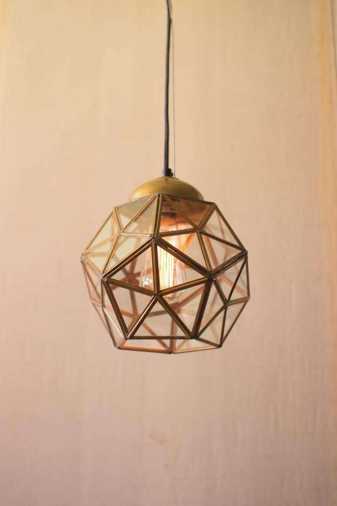 medium gold glass pendant light