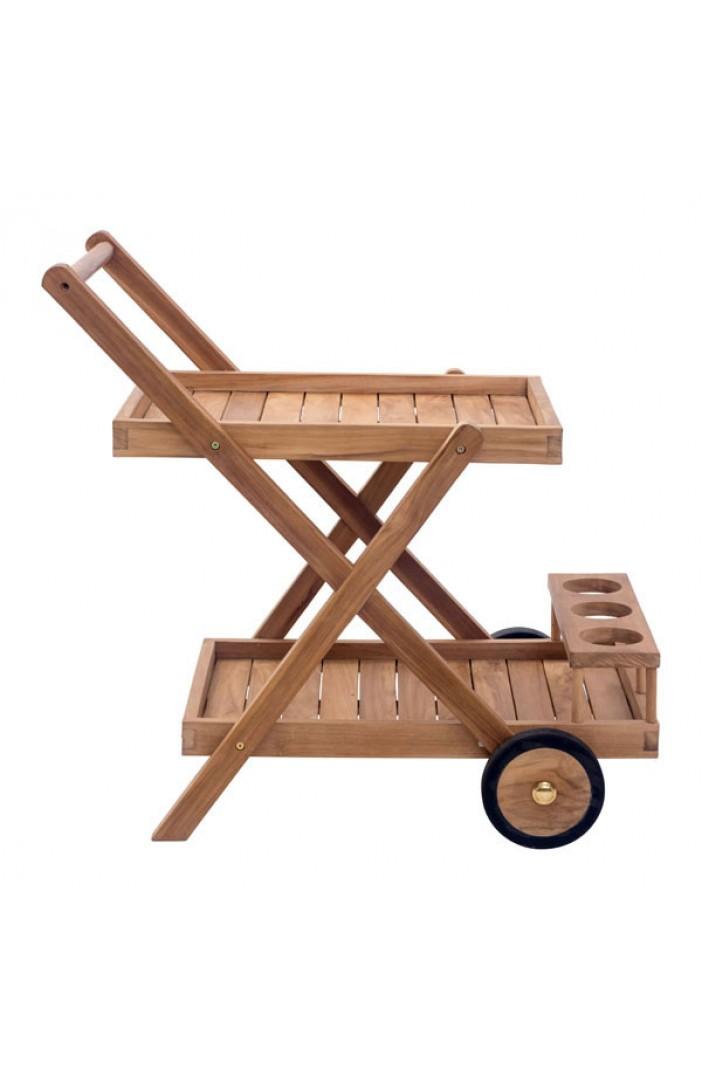 teak wood outdoor rolling cart