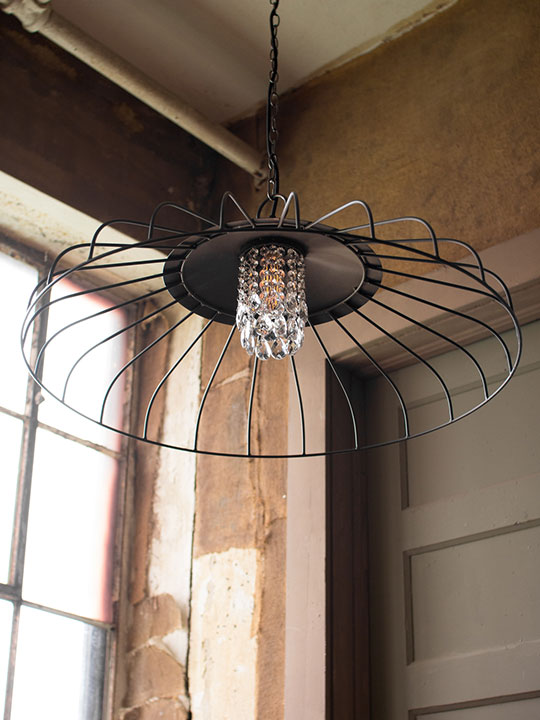 Glass Gem Wire Dome Chandelier