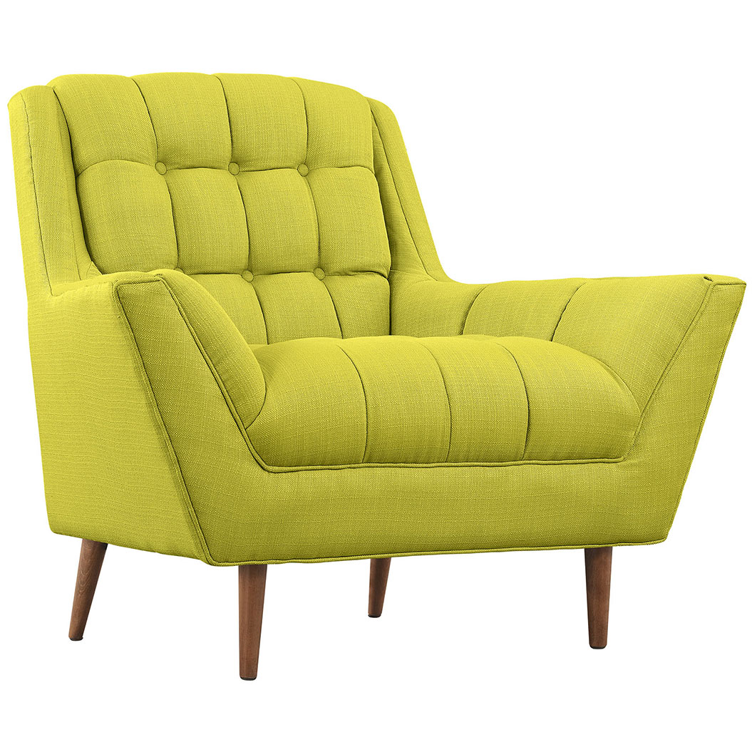hued lime green armchair