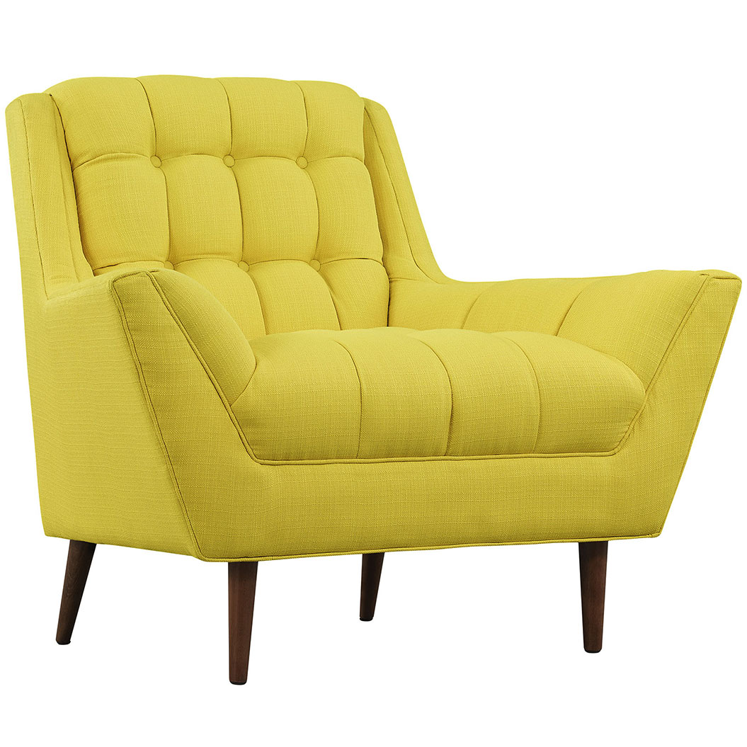 hued yellow armchair