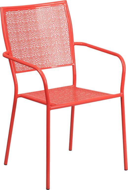 metal brocade chair red
