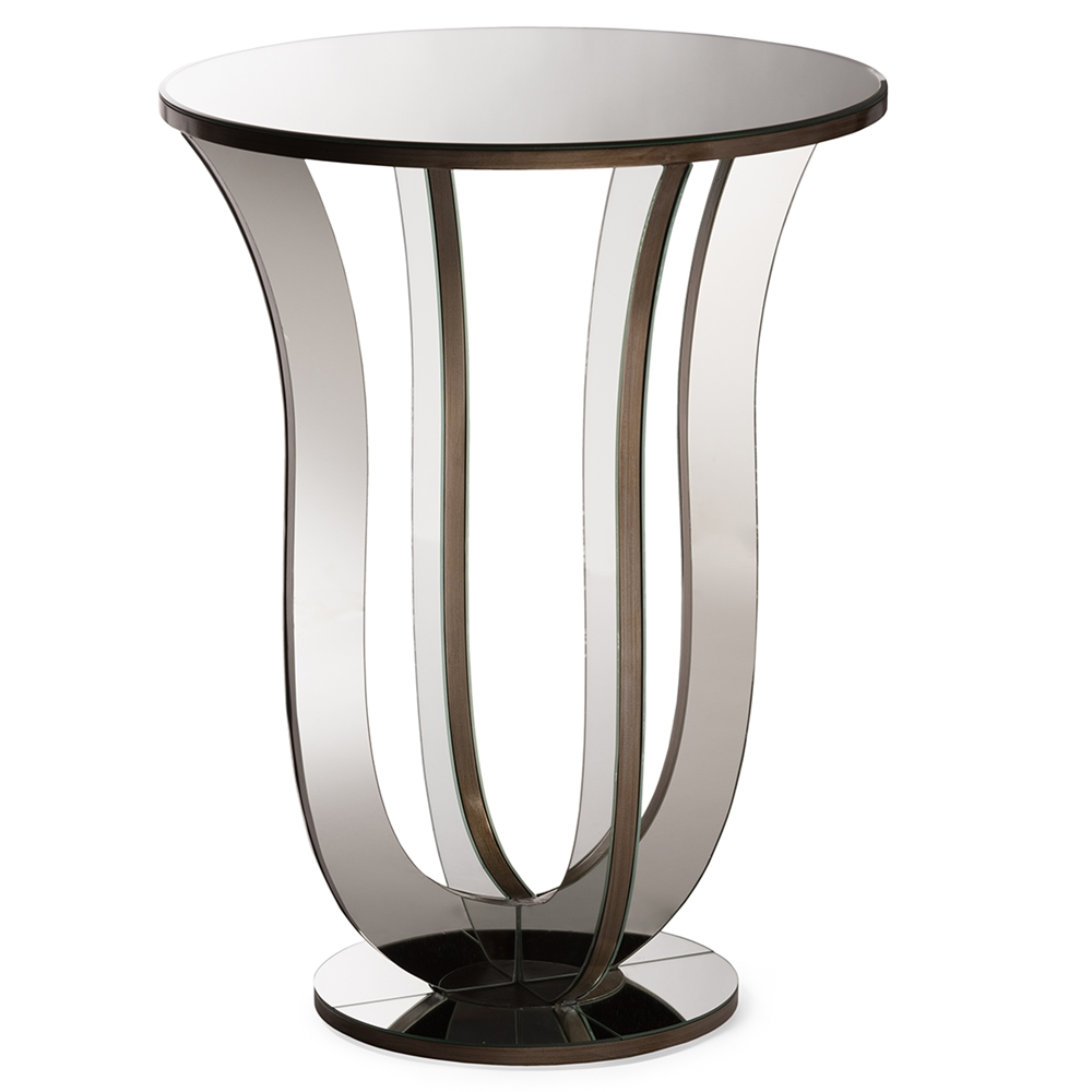 swan mirror end table