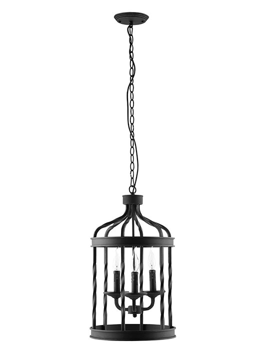 Black Caged Pendant Light