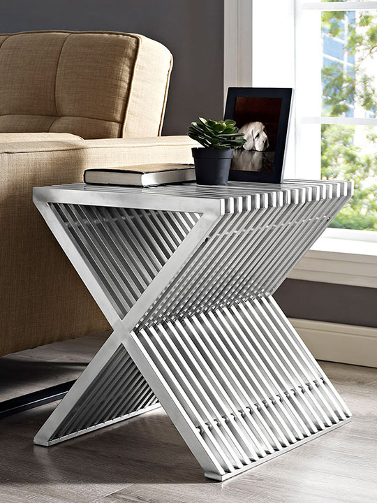 chrome x side table