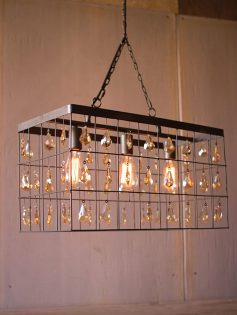 Industrial Caged Rectangle Chandelier 237x315