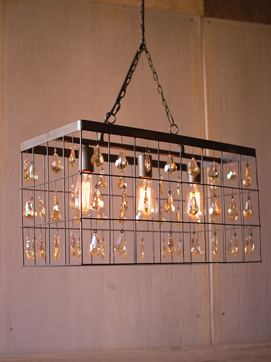 Industrial Caged Rectangle Chandelier