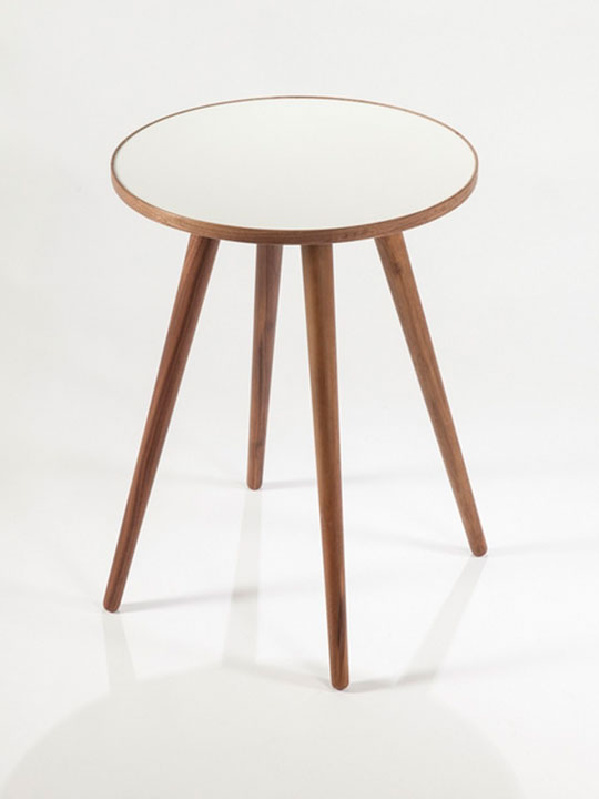 Pencil Leg Walnut White End Table
