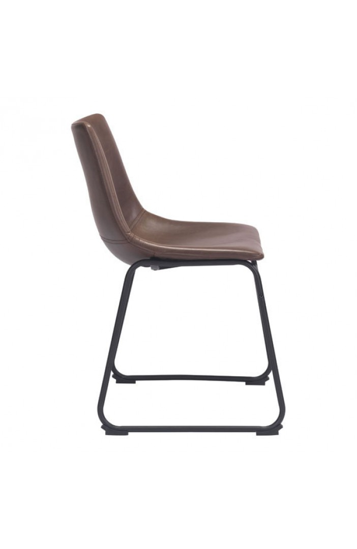 bruno brown leather chair black base
