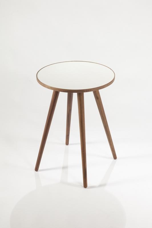mid century Pencil Leg Walnut White End Table