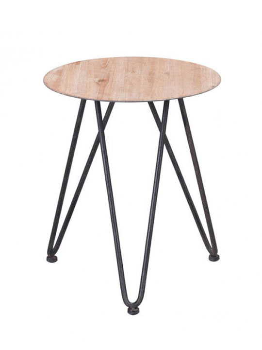 mid century natural wood side table