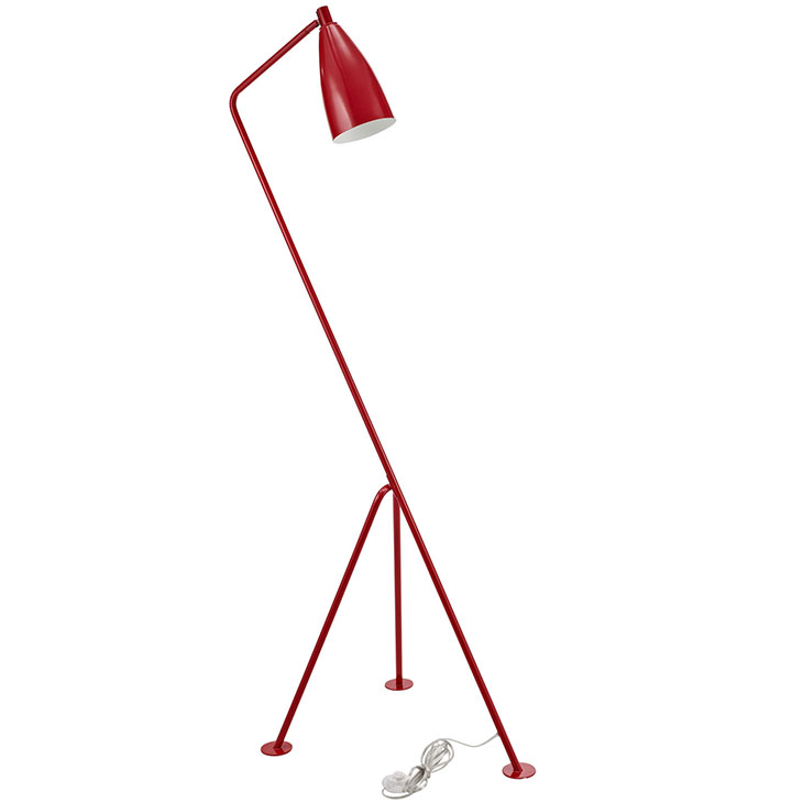 Retro floor lamp modern furniture brickell collection red retro floor lamp aloadofball Gallery
