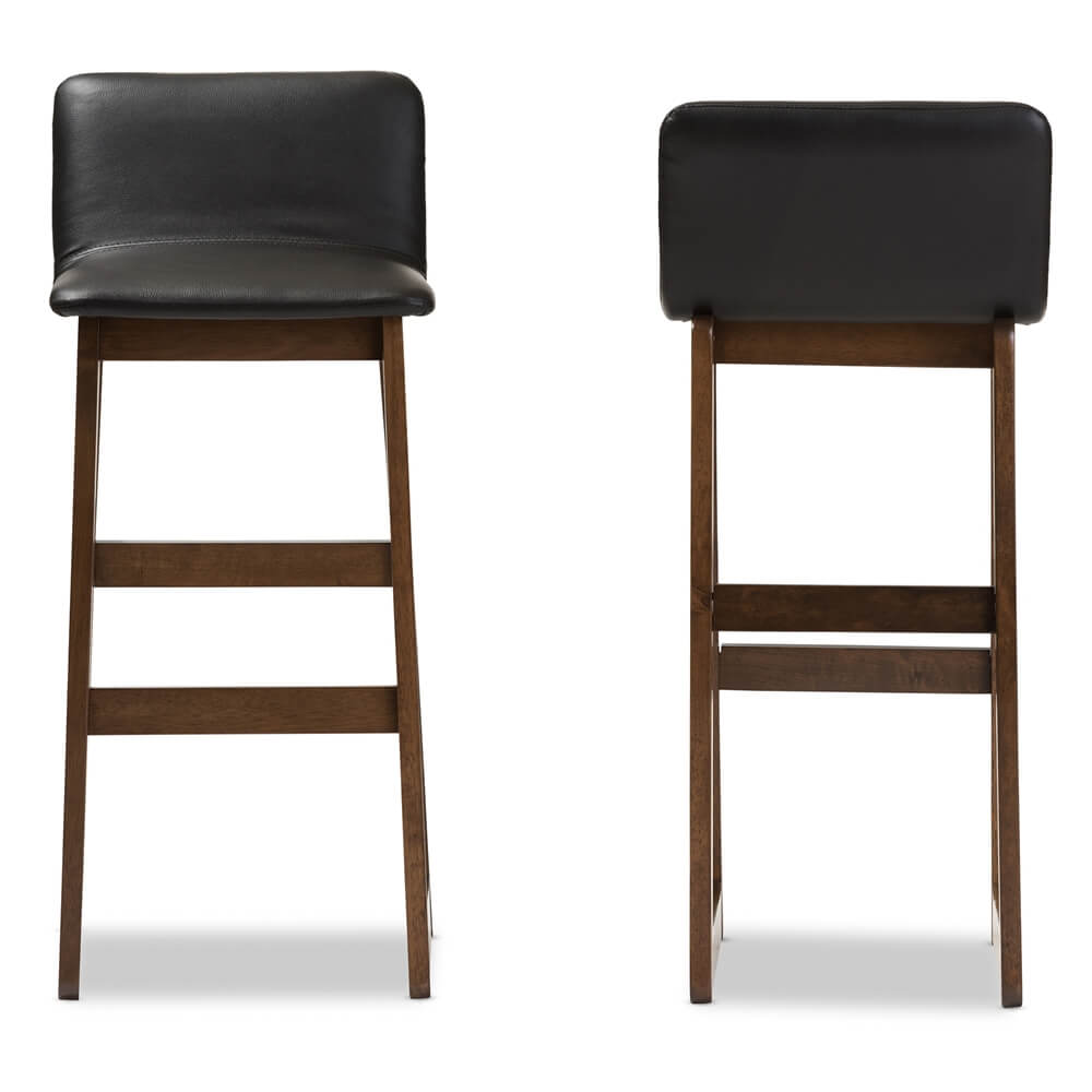 Lester walnut wood black leather Barstool 2