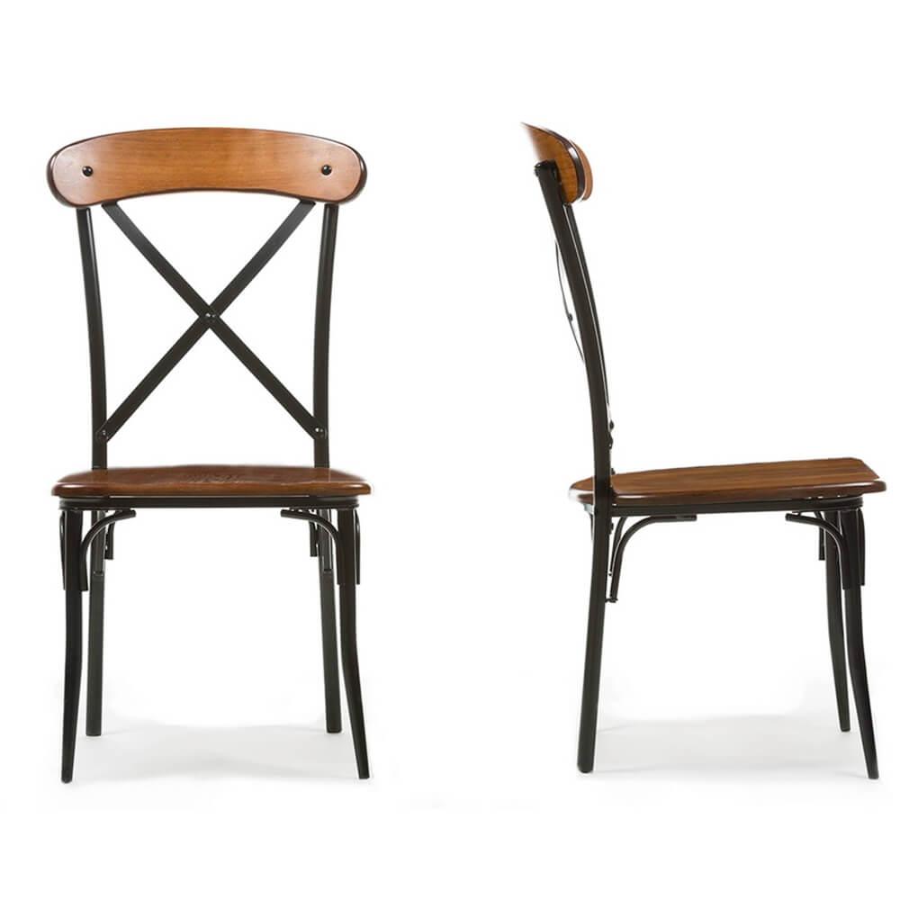X wood industrial chair set 4