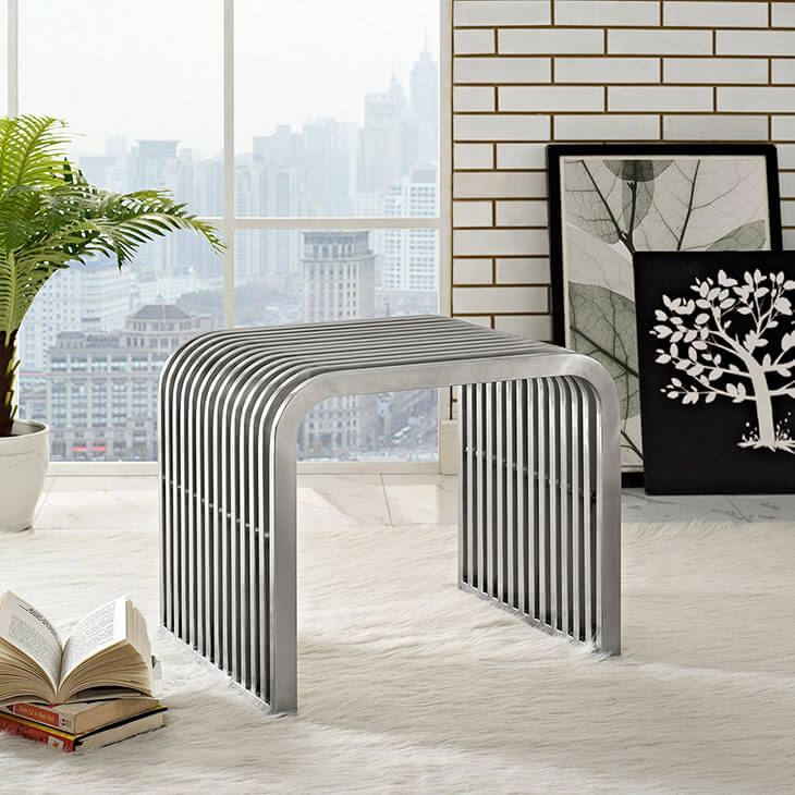 chrome side table bench