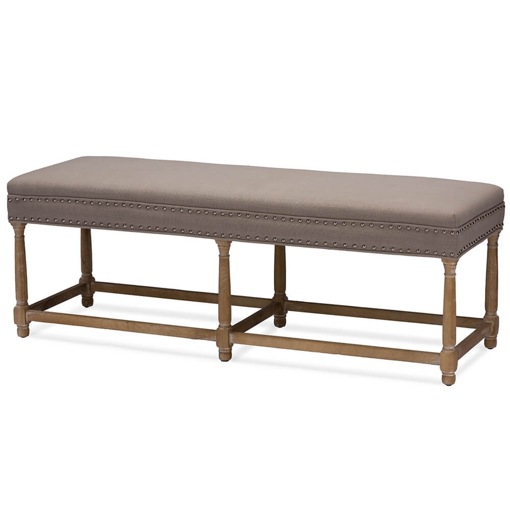 hester taupe fabric bench 2