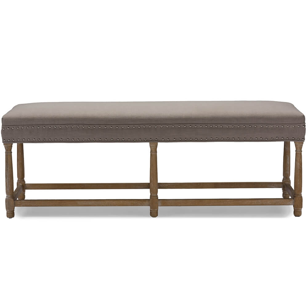 hester taupe fabric bench